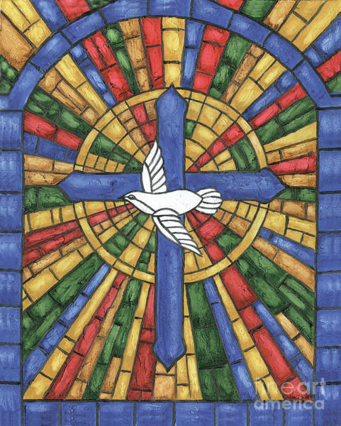 Songbird Painting - Stained Glass Cross by Debbie DeWitt