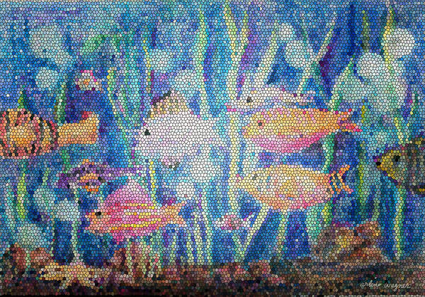 Mosaic Mixed Media - Stained Glass Fish by Arline Wagner