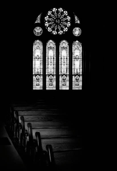 Church Photograph - Stained Glass In Black And White by Tom Mc Nemar