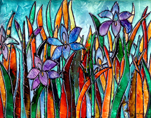 Wall Art - Painting - Stained Glass Iris Garden by Elaine Hodges