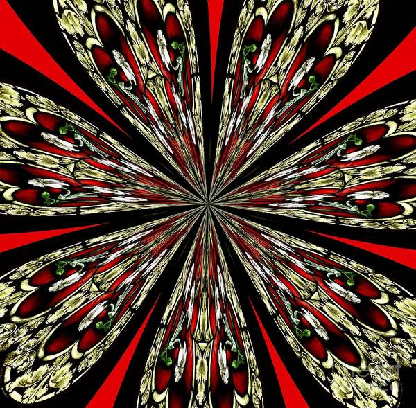 Photograph - Stained Glass Kaleidoscope Mandala In Red Gold And Black by Rose Santuci-Sofranko