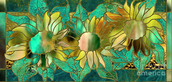 Leaded Glass Painting - Stained Glass Sunflowers by Mindy Sommers