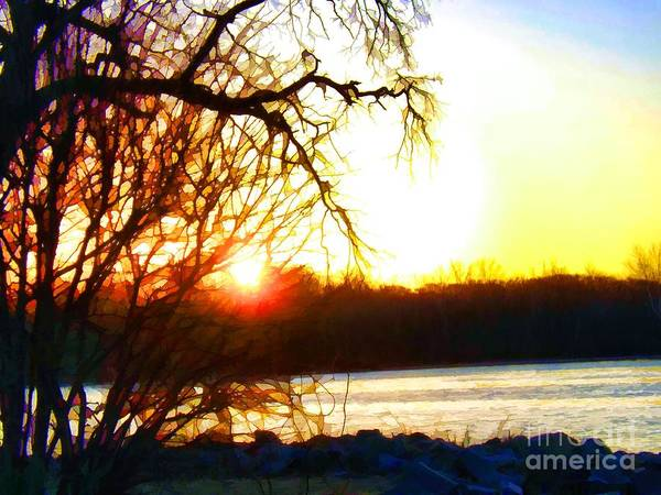 Painting - Stained Glass Sunrise On The Delaware River by Robyn King