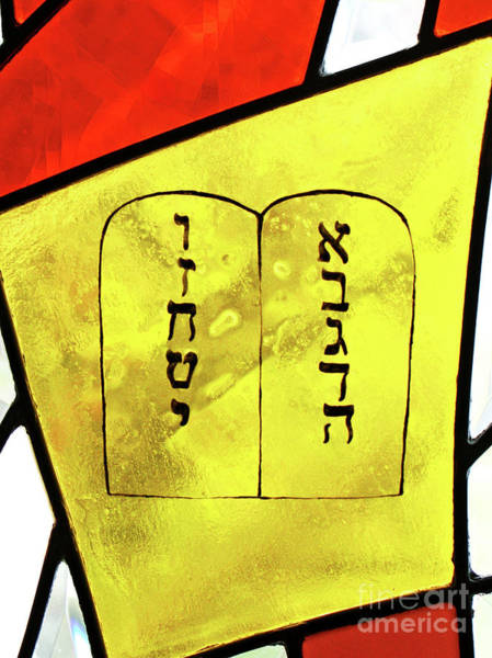 Photograph - Stained Glass Ten Commandments by Larry Oskin