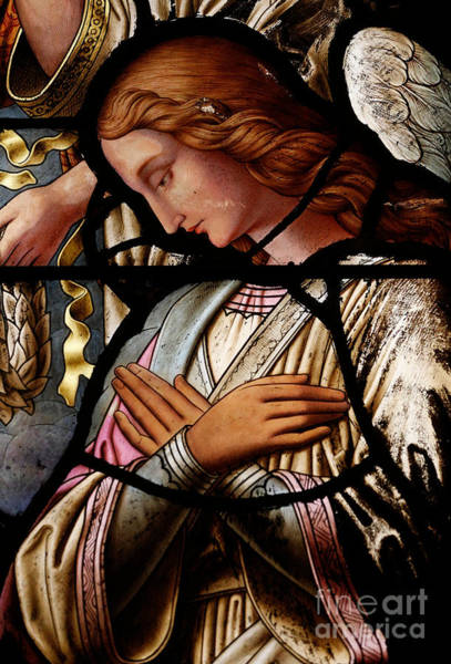 Guardian-angel Photograph - Stained Glass Window Angel by Unknown