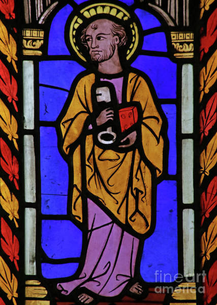 Wall Art - Photograph - Stained Glass Window Depicting Saint Peter by French School