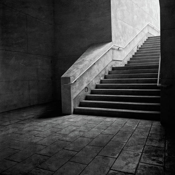Wall Art - Photograph - Staircase Into Light Bw Parking Structure by YoPedro