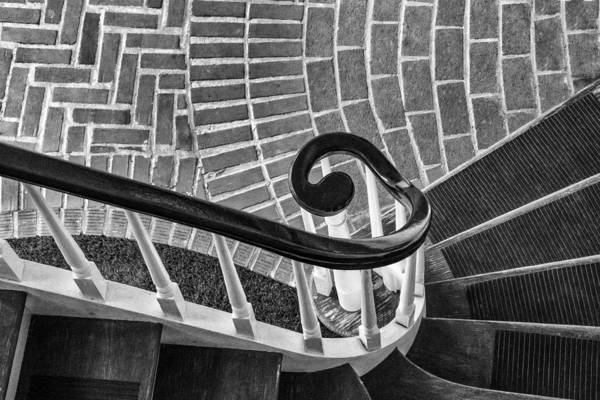 Photograph - Staircase To The Plaza Black And White by Gary Slawsky