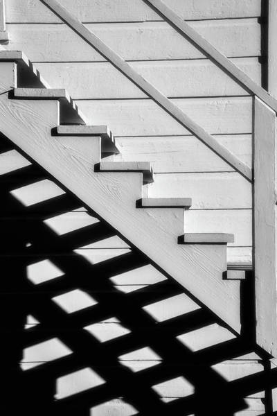 Handrail Photograph - Stairs In Black And White by Garry Gay