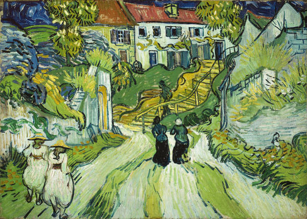 Narrow Street Painting - Stairway At Auvers by Vincent Van Gogh