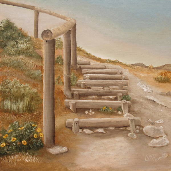 Stairway To Heaven Wall Art - Painting - Stairway From The Beach by Angeles M Pomata