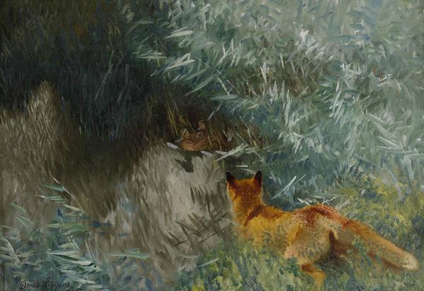 Swedish Painters Wall Art - Painting - Stalking Fox by Bruno Liljefors