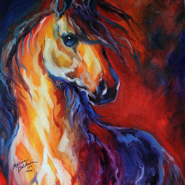 Wall Art - Painting - Stallion Red Dawn by Marcia Baldwin