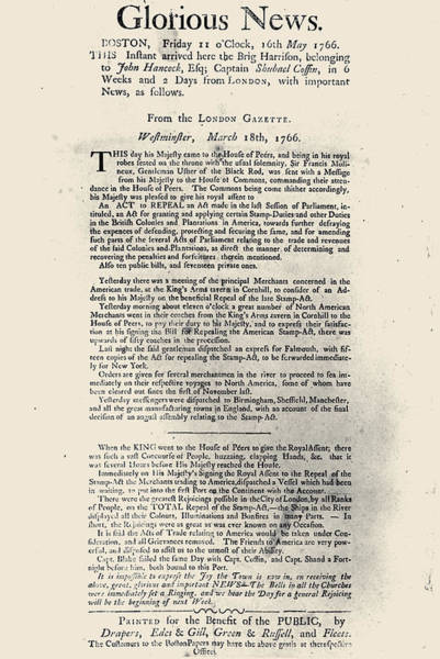 Photograph - Stamp Act Broadside, 1766 by Granger