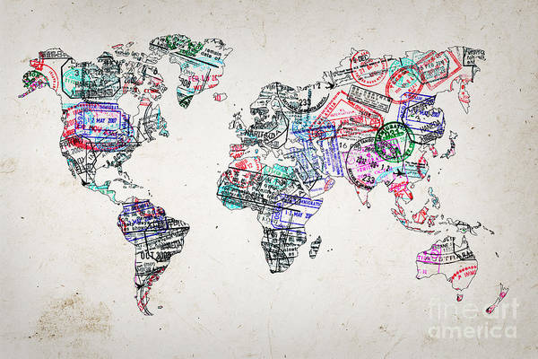 Wall Art - Photograph - Stamp Art World Map by Delphimages Photo Creations