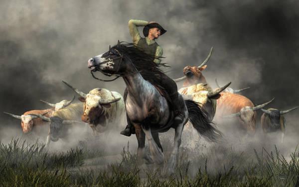 Longhorn Digital Art - Stampede by Daniel Eskridge