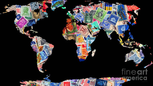 Stamp Collecting Photograph - Stamps Of The World Map . V1 by Wingsdomain Art and Photography