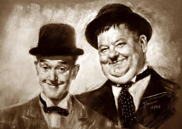 Laurel Wall Art - Drawing - Stan Laurel  Oliver Hardy by Ylli Haruni