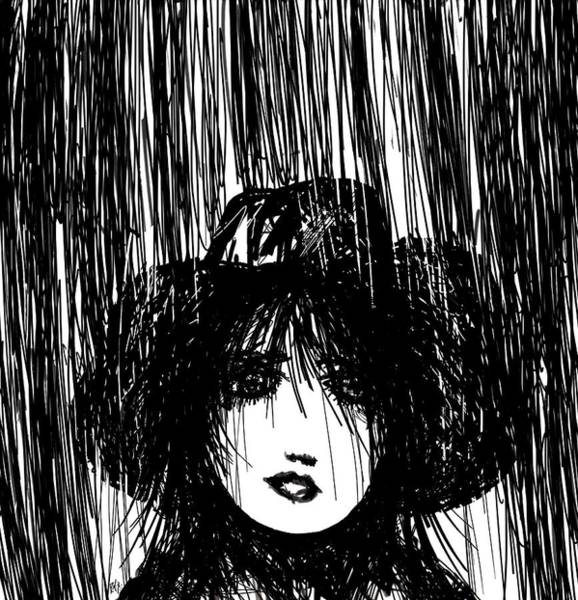 Wet Drawing - Stand In The Rain by Rachel Christine Nowicki