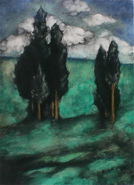 Monotype Mixed Media - Stand Of Trees by Lori Dean Dyment