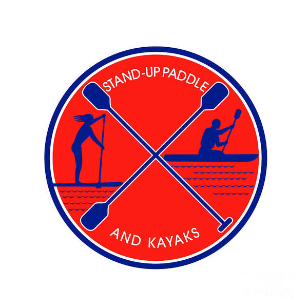 Paddle Digital Art - Stand-up Paddle And Kayak Circle Retro by Aloysius Patrimonio