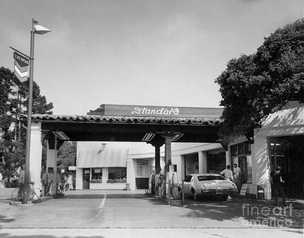 Photograph - Standard Gas Station On Ocean Ave. And San Carlos, Carmel, Calif Circa 1968 by California Views Archives Mr Pat Hathaway Archives