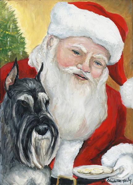 Schnauzer Wall Art - Painting - Standard Schnauzer And Santa by Charlotte Yealey