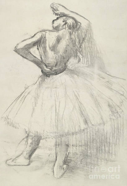 Pastel Pencil Drawing - Standing Dancer, Right Arm Raised by Edgar Degas