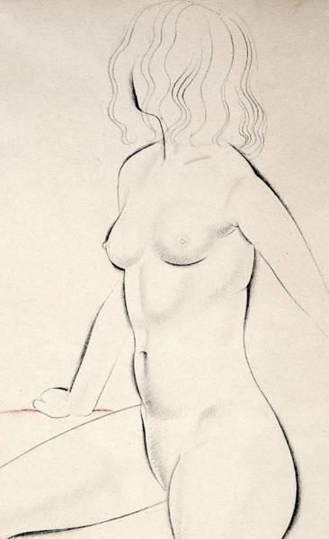 Crayon Drawing - Standing Female Nude by Eric Gill