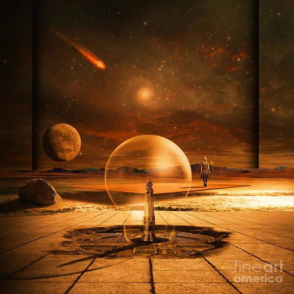 Red Planet Digital Art - Standing In Time by Franziskus Pfleghart