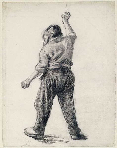 Drawers Painting - Standing Man Seen From The Back, 1886 by Vincent Van Gogh