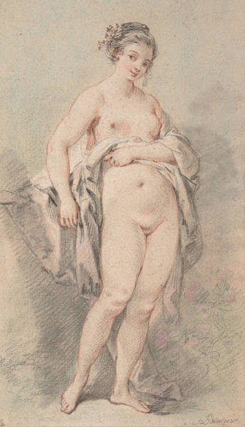 French Artist Drawing - Standing Nude Girl by Francois Boucher