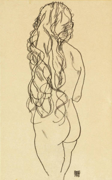 Wall Art - Drawing - Standing Nude Girl With Long Hair by Egon Schiele