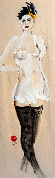 Nipples Wall Art - Painting - Standing Nude In Black Stockings With Flower And Bird In Hair by Susan Adams