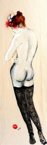 Wall Art - Painting - Standing Nude In Black Stockings With Flower In Hair And Bird by Susan Adams