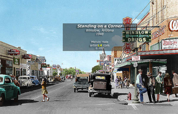Wall Art - Painting - Standing On A Corner Winslow Az Circa 1948 by Melvin Hale