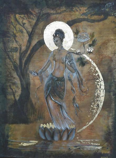Hindu Goddess Wall Art - Painting - Standing White Tara by Silk Alchemy