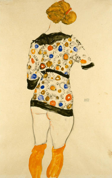 Drawing - Standing Woman In A Patterned Blouse by Egon Schiele