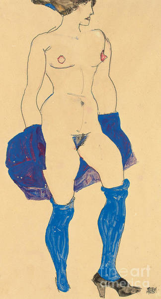 Sensual Drawing - Standing Woman With Shoes And Stockings by Egon Schiele