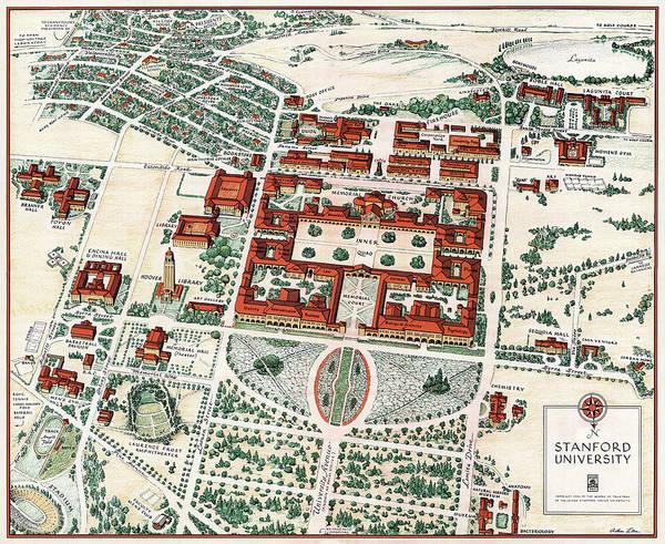 Wall Art - Photograph - Stanford University Map 1943 by Daniel Hagerman