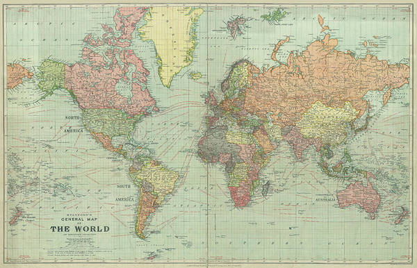 Wall Art - Photograph - Stanford World Map 1922 by Daniel Hagerman