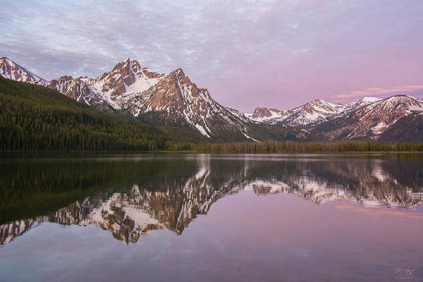 Photograph - Stanley Lake Sunrise Reflection by Aaron Spong