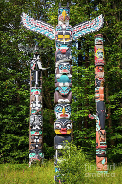 British Columbia Photograph - Stanley Park Totems by Inge Johnsson