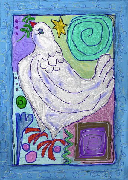 Faith Healing Mixed Media - Star And Dove - Greeting Card by Ian Roz