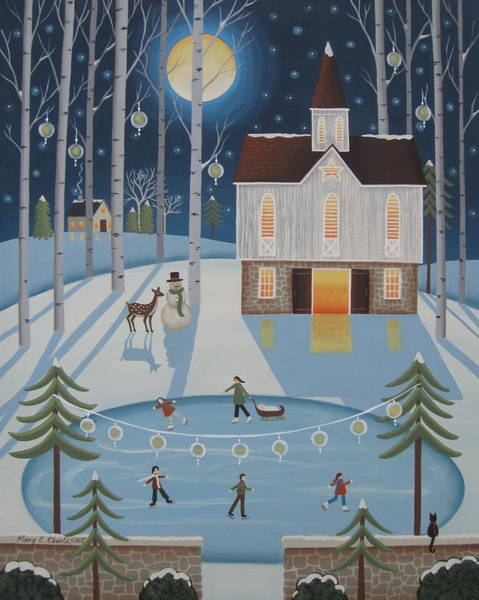 Barn Snow Painting - Star Barn Skaters by Mary Charles
