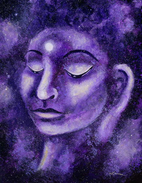 Zen Buddhism Painting - Star Buddha Of Purple Patience by Laura Iverson