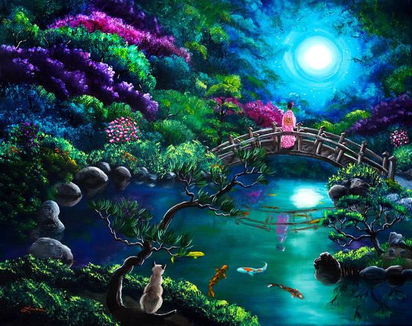 Geisha Painting - Star Gazing On Moon Bridge by Laura Iverson