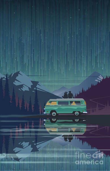 Camper Wall Art - Painting - Star Light Vanlife by Sassan Filsoof
