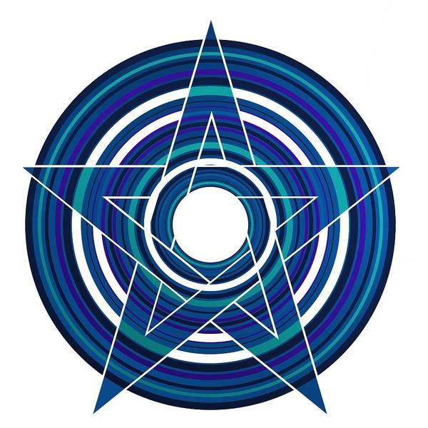 Digital Art - Star Marine Over Concentric Circles by Alberto RuiZ