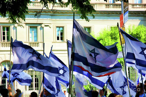 Shofar Wall Art - Photograph - Star Of David Flags Israel Day In Central Park  by Chuck Kuhn